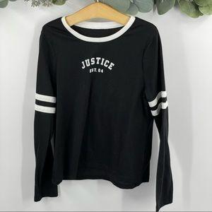 Justice | Black Long Sleeve Varsity Shirt, Sz. 8